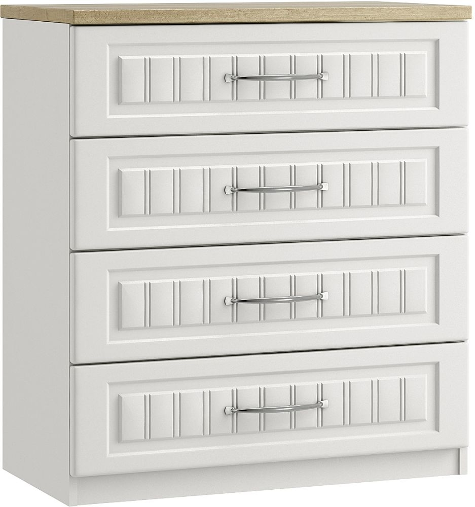 Dakota White 4 Drawer Chest - Ready Assembled