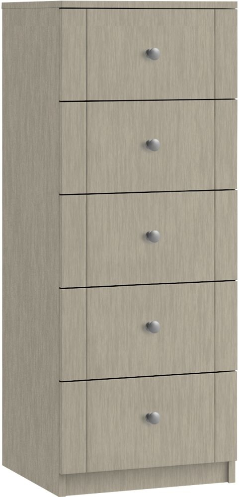 Montreal 5 Drawer Narrow Chest - Ready Assembled