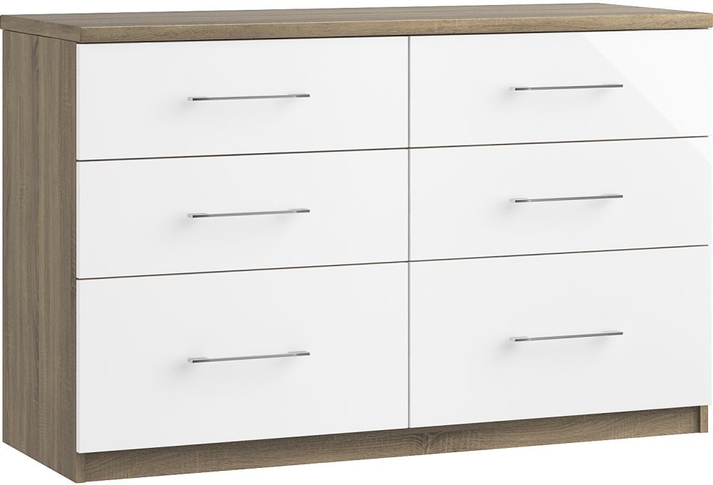 Toledo 6 Drawer Twin Chest - Ready Assembled