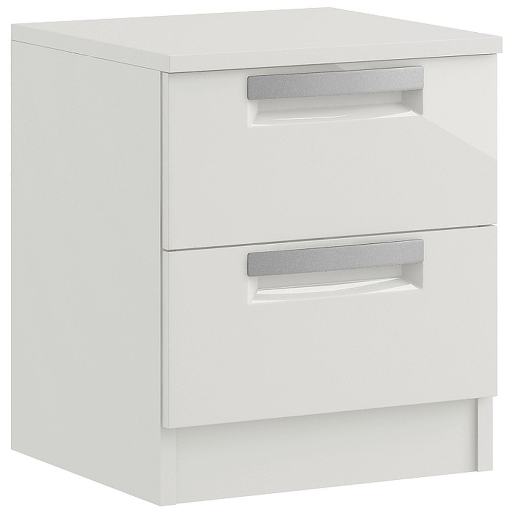 Toronto 2 Drawer High Gloss Bedside Cabinet - Ready Assembled