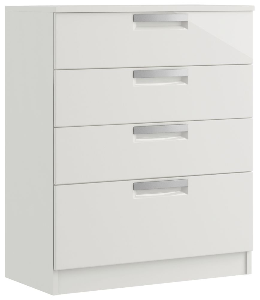 Toronto 4 Drawer High Gloss Deep Chest - Ready Assembled