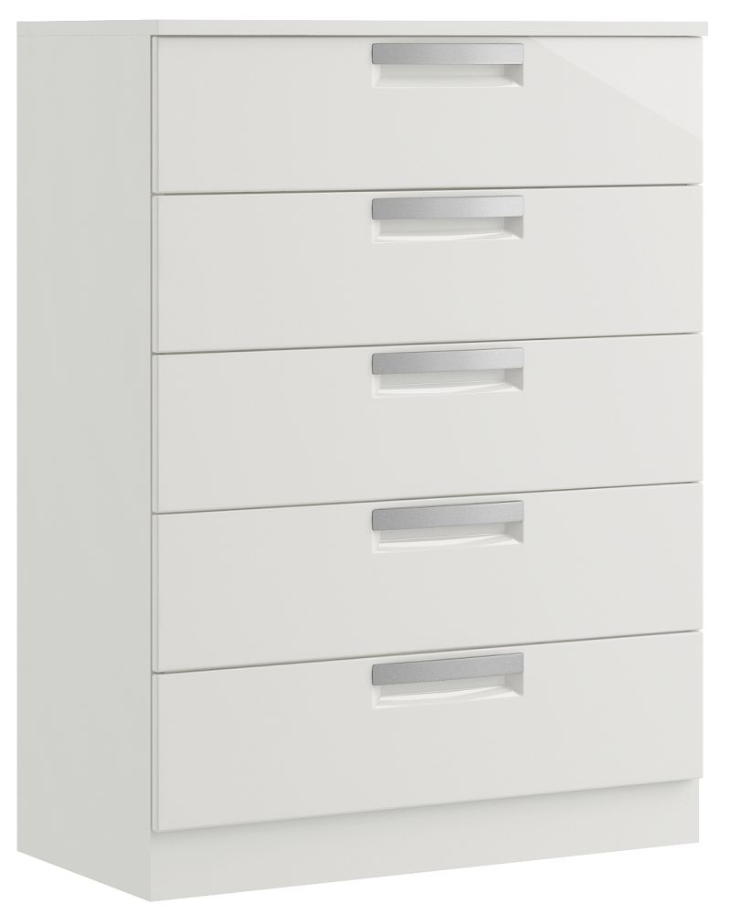 Toronto 5 Drawer High Gloss Chest - Ready Assembled
