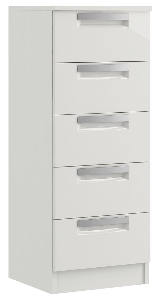 Toronto 5 Drawer High Gloss Narrow Chest - Ready Assembled