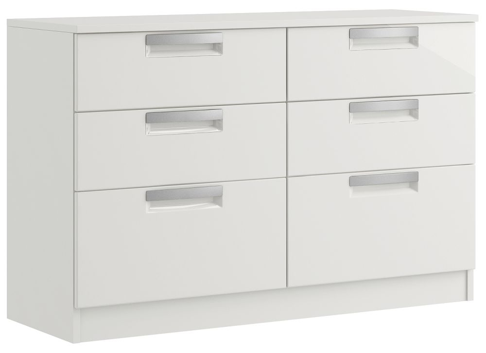 Toronto 6 Drawer High Gloss Twin Chest - Ready Assembled