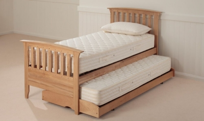 Relyon New England 3ft Single Oak Guest Bed with Mattress