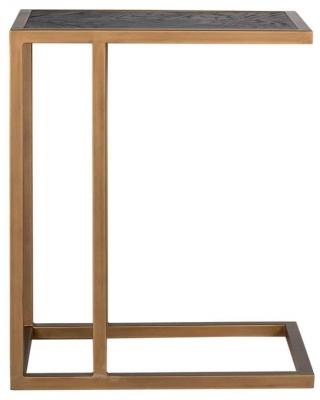 Blackbone Black Oak and Brass Sofa Side Table