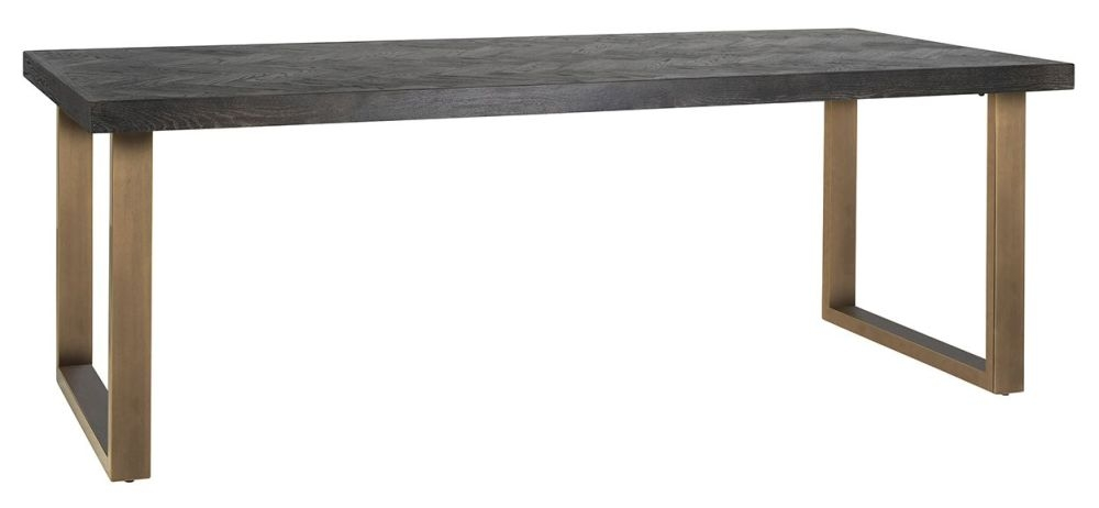 Blackbone  Black Oak and Brass Dining Table  - 220cm