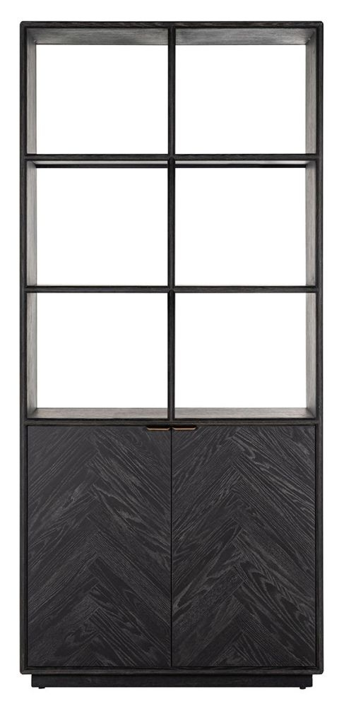 Blackbone Black Oak and Brass Bookcase