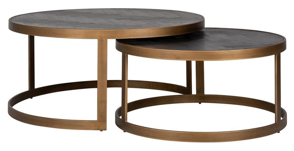 Blackbone Black Oak and Brass Nest of 2 Coffee Tables
