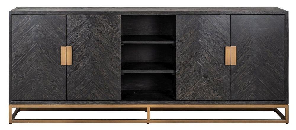 Blackbone Black Oak and Brass Sideboard
