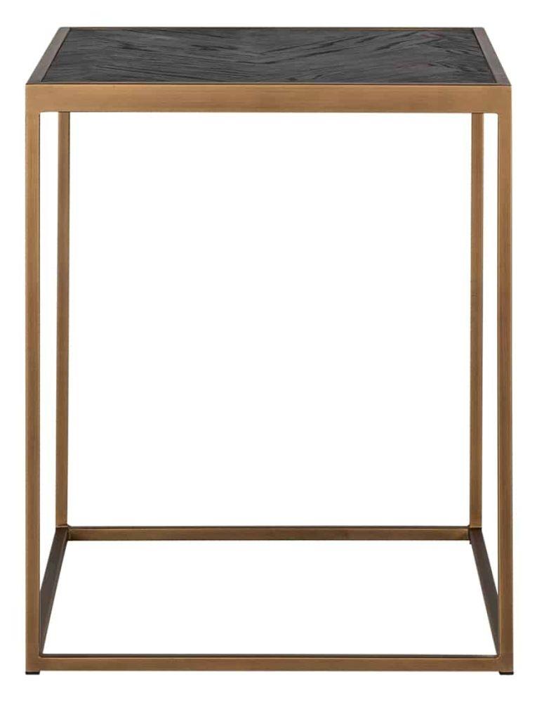 Blackbone Black Oak and Brass Side Table
