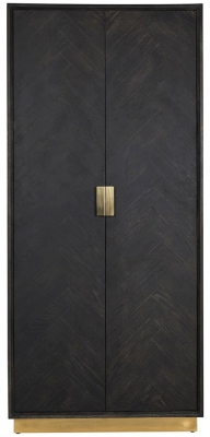 Blackbone Black Oak and Gold 2 Door High Display Cabinet