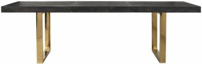 Blackbone Black Oak and Gold Extending Dining Table - 195cm-265cm