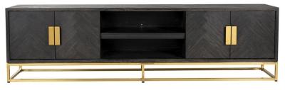 Blackbone Black Oak and Gold 4 Door TV Unit - 220cm