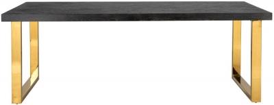 Blackbone Black Oak and Gold  Dining Table - 180cm