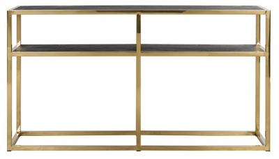 Blackbone Black Oak and Gold Console Table