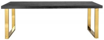 Blackbone Black Oak and Gold Dining Table - 220cm