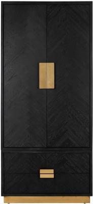 Blackbone Black Oak and Gold 2 Door 2 Drawer Wardrobe