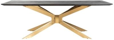 Blackbone Matrix Gold and Chrome Dining Table