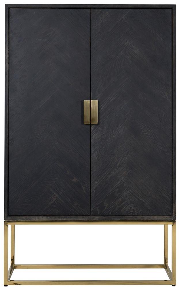 Blackbone Black Oak and Gold 2 Door Low Display Cabinet