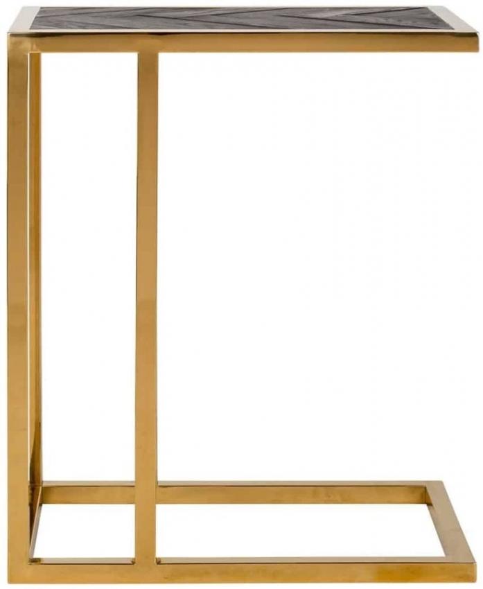Blackbone Black Oak and Gold Sofa Side Table