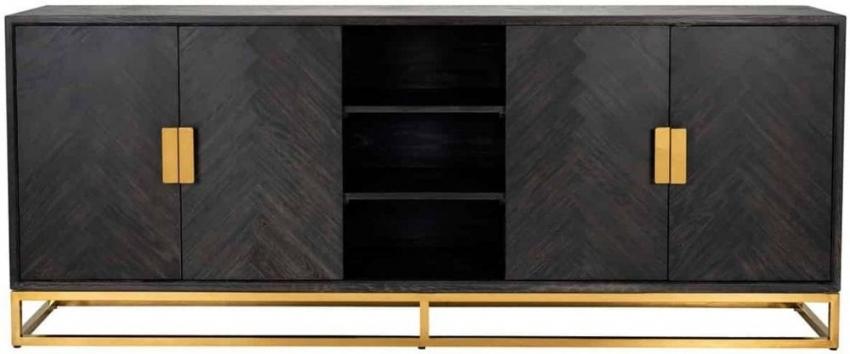 Blackbone Black Oak and Gold 4 Door Wide Sideboard