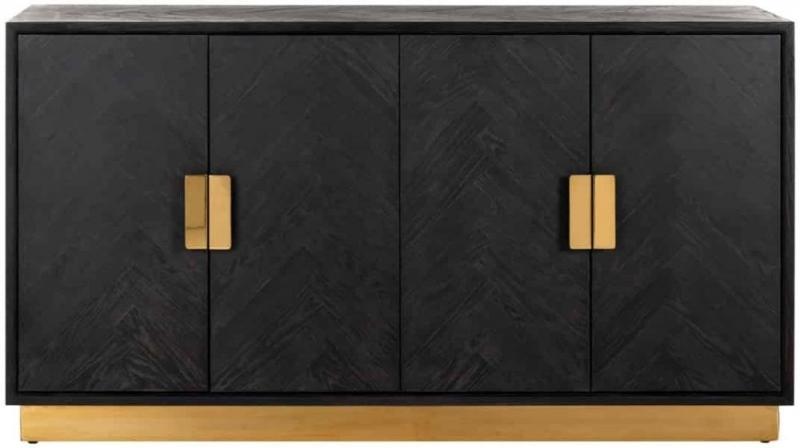 Blackbone Black Oak and Gold 4 Door Sideboard