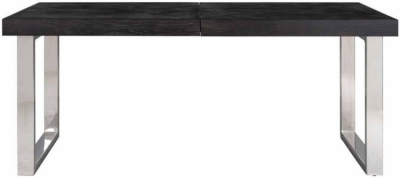 Blackbone Black Oak and Silver Extending Dining Table - 195cm-265cm