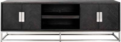 Blackbone Black Oak and Silver 4 Door TV Unit - 185cm