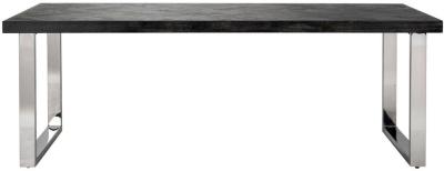Blackbone Black Oak and Silver Dining Table - 180cm