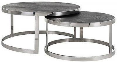 Blackbone Black Oak and Silver Round Coffee Table (Set of 2)