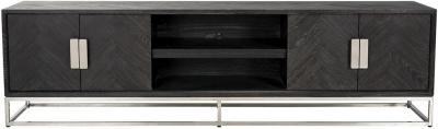 Blackbone Black Oak and Silver 4 Door TV Unit - 220cm