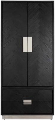Blackbone Black Oak and Silver 2 Door 2 Drawer Wardrobe