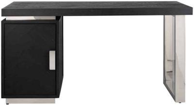 Blackbone Black Oak and Silver 1 Door Desk