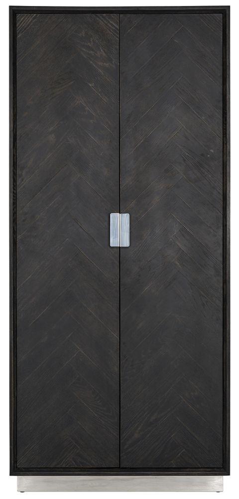 Blackbone Black Oak and Silver 2 Door High Display Cabinet