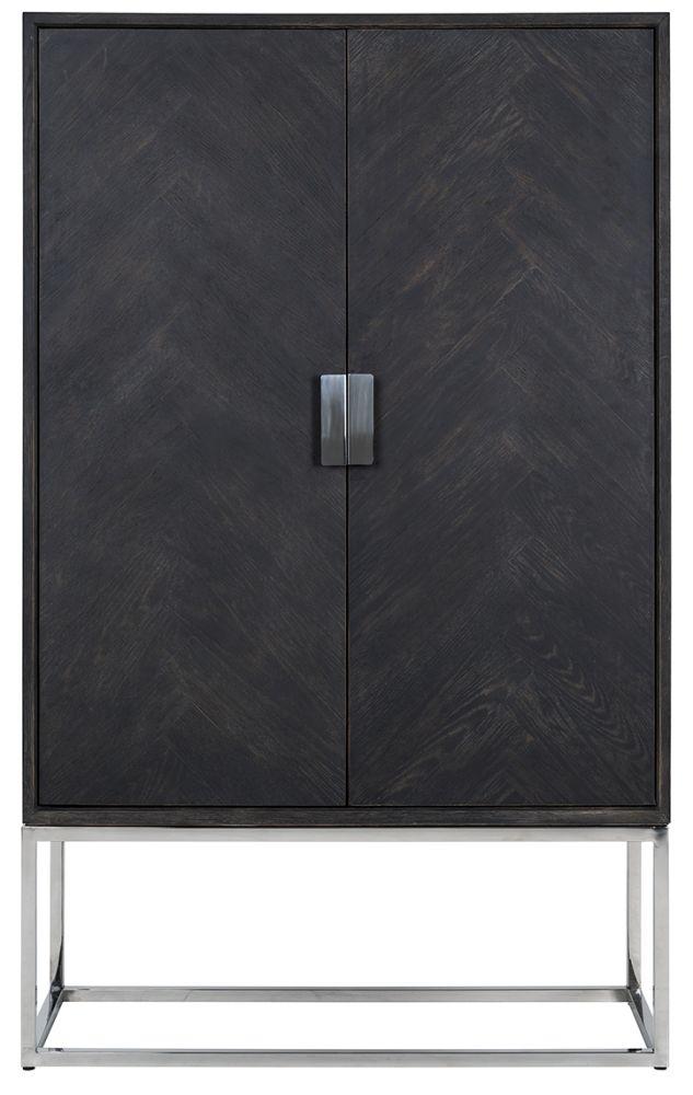 Blackbone Black Oak and Silver 2 Door Low Display Cabinet