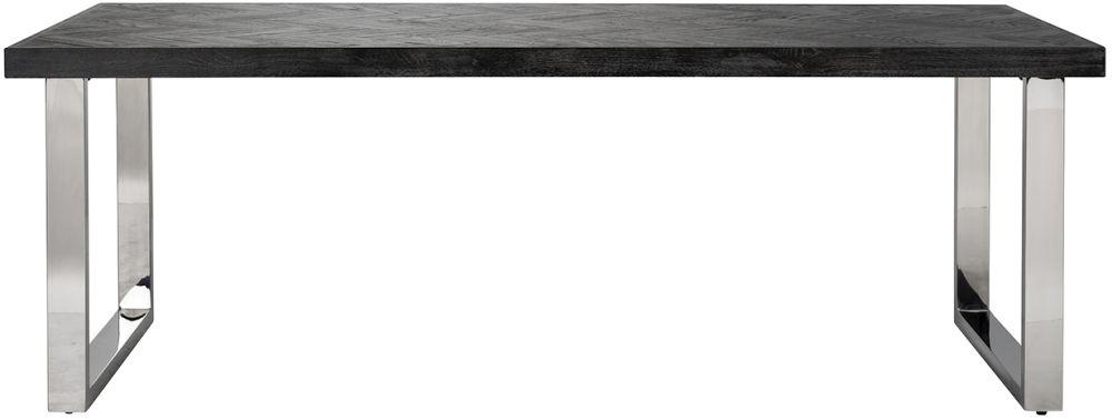 Blackbone Black Oak and Silver Dining Table - 220cm