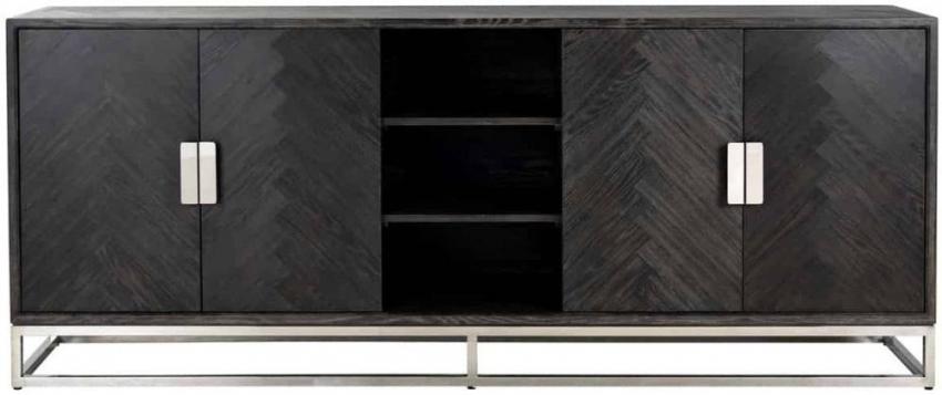 Blackbone Black Oak and Silver 4 Door Wide Sideboard