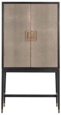 Bloomingville Shagreen Faux Leather 2 Door Bar Cabinet
