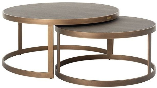 Bloomingville Shagreen Faux Leather Top Round Coffee Table (Set of 2)