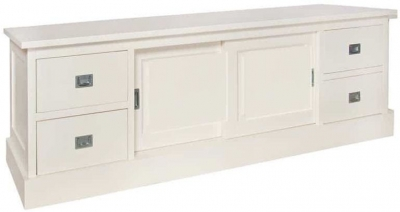 Boxx Painted 2 Sliding Door 4 Drawer TV Unit