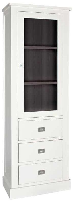 Boxx Painted Glass Display cabinet - 1 Door 3 Drawer