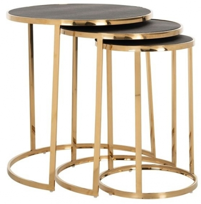 Calesta Shagreen Faux Leather and Gold Round Side Table - (Set of 3)
