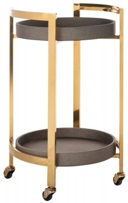 Calesta Shagreen Faux Leather and Gold Round Trolley