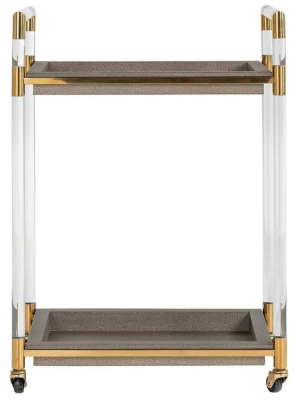 Calesta Shagreen Faux Leather and Gold Trolley