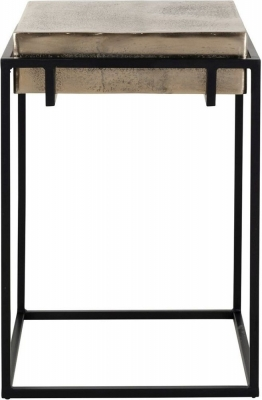 Calloway Champagne Gold and Black Side Table