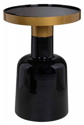 Candy Black Glass Round Side Table