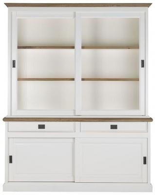 Whitewooda Oak and Snow Painted 4 Sliding Door 2 Drawer Dresser