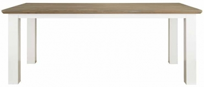 Cardiff Oak and Snow Painted Dining Table - 160cm