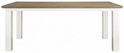 Cardiff Oak and Snow Painted Dining Table - 190cm
